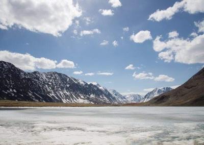 Frozen Karakol lake in may