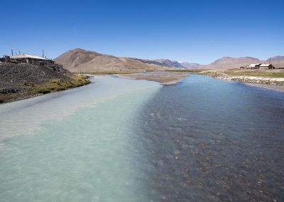 Counfluence of rivers of different colours in Altai