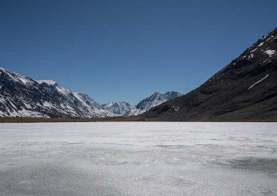 Karakol lake, still frozen in May